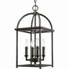 Thomasville Lighting Piedmont Collection (P3884-20) Traditional/Classic 4 Light Foyer Fixture shown in Antique Bronze with Matching Candle Covers and Caps
