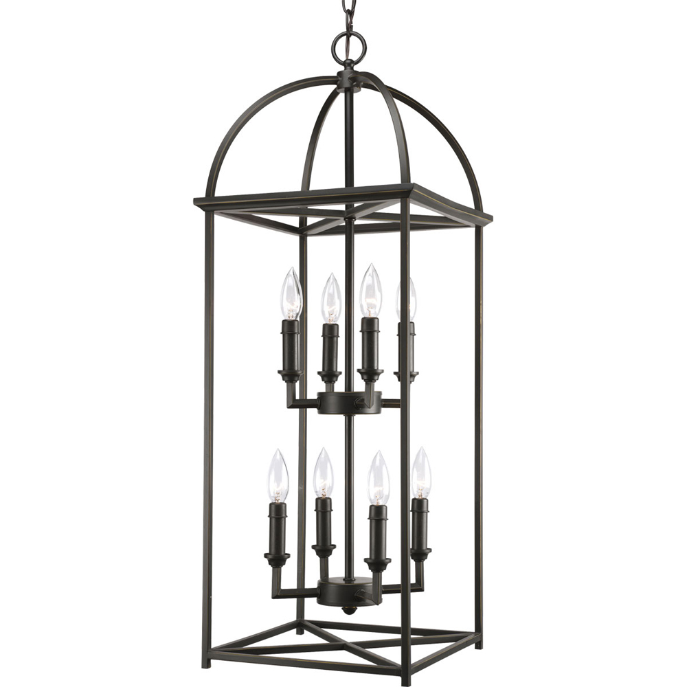 Thomasville Lighting Piedmont Collection (P3888-20) Traditional/Classic 8 Light Foyer Fixture shown in Antique Bronze with Matching Candle Covers and Caps