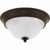 Progress Lighting Renovations Collection (P3772-77) Traditional/Classic 2 Light Flush Mount shown in Forged Bronze with Etched Ribbed Glass