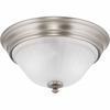Progress Lighting Renovations Collection (P3772-81) Traditional/Classic 2 Light Flush Mount shown in Antique Nickel with Etched Ribbed Glass