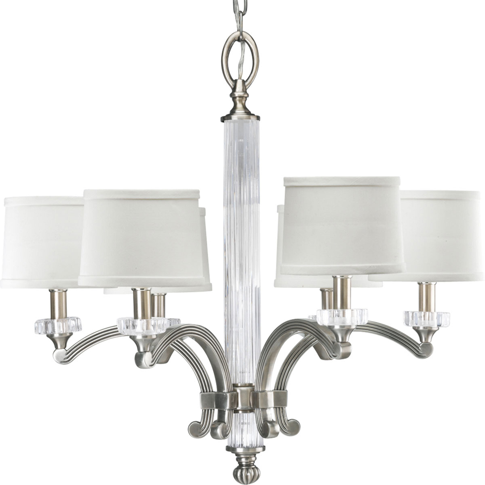 Thomasville Lighting Roxbury Collection (P4501-101) Contemporary/Soft 6 Light Chandelier shown in Classic Silver