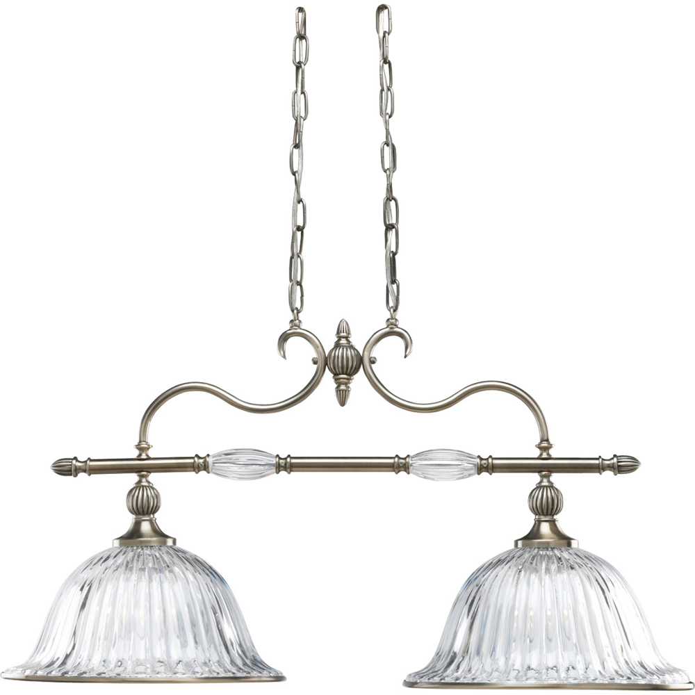 Thomasville Lighting Roxbury Collection (P4503-101) Traditional/Formal 2 Light Chandelier shown in Classic Silver with Clear Crystal Glass