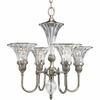 Thomasville Lighting Roxbury Collection (P4505-101) Traditional/Formal 4 Light Chandelier shown in Classic Silver with Clear Crystal Glass