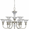 Thomasville Lighting Roxbury Collection (P4507-101) Traditional/Formal 9 Light Chandelier shown in Classic Silver with Clear Crystal Glass
