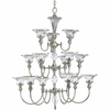 Thomasville Lighting Roxbury Collection (P4508-101) Traditional/Formal 15 Light Chandelier shown in Classic Silver with Clear Crystal Glass