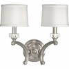 Thomasville Lighting Roxbury Collection (P2772-101) Traditional/Formal 2 Light Wall Bracket shown in Classic Silver with Black & Silver Lining Paper