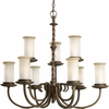 Thomasville Lighting Santiago Collection (P4179-102) Traditional/Casual 9 Light Chandelier shown in Roasted Java with Jasmine Mist Glass