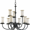 Thomasville Lighting Santiago Collection (P4179-80) Traditional/Casual 9 Light Chandelier shown in Forged Black with Jasmine Mist Glass