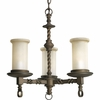 Thomasville Lighting Santiago Collection (P4586-102) Traditional/Casual 3 Light Chandelier shown in Roasted Java with Jasmine Mist Glass