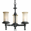 Thomasville Lighting Santiago Collection (P4586-80) Traditional/Casual 3 Light Chandelier shown in Forged Black with Jasmine Mist Glass