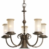 Thomasville Lighting Santiago Collection (P4587-102) Traditional/Casual 5 Light Chandelier shown in Roasted Java with Jasmine Mist Glass