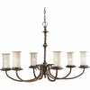 Thomasville Lighting Santiago Collection (P4588-102) Traditional/Casual 6 Light Chandelier shown in Roasted Java with Jasmine Mist Glass