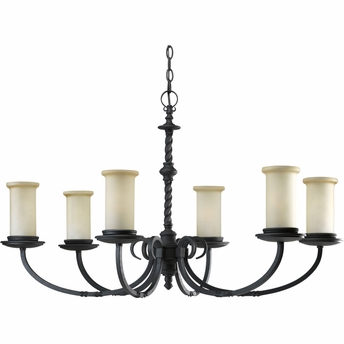 Thomasville Lighting Santiago Collection (P4588-80) Traditional/Casual 6 Light Chandelier shown in Forged Black with Jasmine Mist Glass