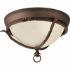 Thomasville Lighting Santiago Collection (P3837-102) Traditional/Casual 2 Light Close-To-Ceiling Fixture shown in Roasted Java with Jasmine Mist Glass