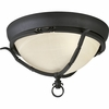 Thomasville Lighting Santiago Collection (P3837-80) Traditional/Casual 2 Light Close-To-Ceiling Fixture shown in Forged Black with Jasmine Mist Glass