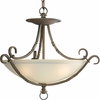 Thomasville Lighting Santiago Collection (P3839-102) Traditional/Casual 3 Light Close-To-Ceiling Fixture shown in Roasted Java with Jasmine Mist Glass