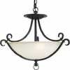 Thomasville Lighting Santiago Collection (P3839-80) Traditional/Casual 3 Light Close-To-Ceiling Fixture shown in Forged Black with Jasmine Mist Glass