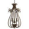 Thomasville Lighting Santiago Collection (P3840-102) Traditional/Casual 3 Light Foyer Fixture shown in Roasted Java with Matching Hand Painted Candle Sleeves Glass