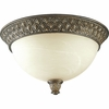 Progress Lighting Savannah Collection (P3497-86) Traditional/Formal 2 Light Close-To-Ceiling Fixture shown in Burnished Chestnut with Antique Alabaster Glass