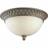 Progress Lighting Savannah Collection (P3498-86) Traditional/Formal 3 Light Close-To-Ceiling Fixture shown in Burnished Chestnut with Antique Alabaster Glass