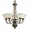 Progress Lighting Savannah Collection (P4278-86EB) Traditional/Formal 5 Light Chandelier shown in Burnished Chestnut with Antique Alabaster Glass