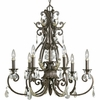 Thomasville Lighting Savona Collection (P4545-72) Traditional/Formal 6 Light Chandelier shown in Cognac with Cut Glass