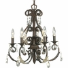 Thomasville Lighting Savona Collection (P4547-72) Traditional/Formal 5 Light Chandelier shown in Cognac with Cut Glass