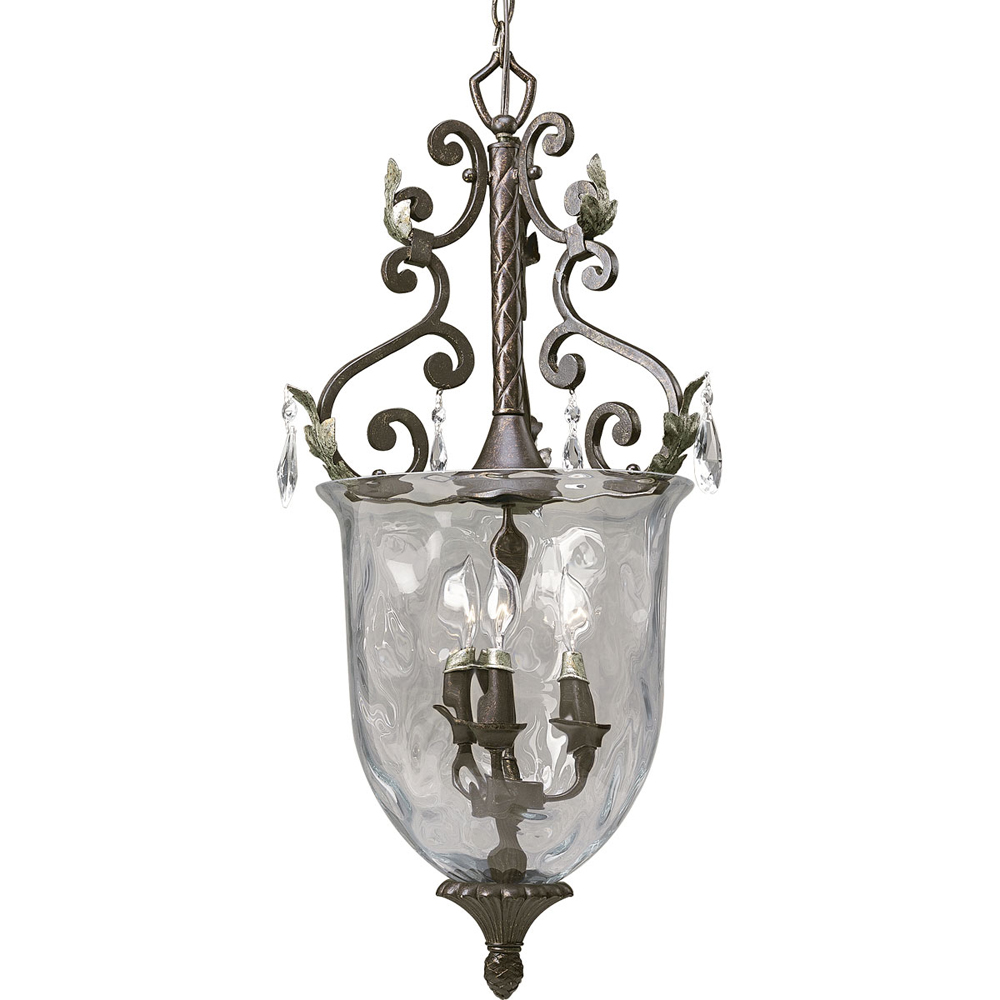 Thomasville Lighting Savona Collection (P3683-72) Traditional/Formal 3 Light Foyer Fixture shown in Cognac with Optic Hammered Glass