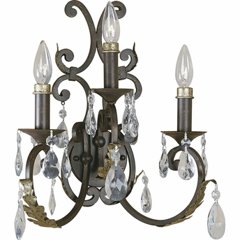 Thomasville Lighting Savona Collection (P2944-72) Traditional/Formal 3 Light Wall Bracket shown in Cognac with Cut Glass