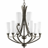 Progress Lighting Wisten Collection (P4439-20) Contemporary/Soft 9 Light Chandelier shown in Antique Bronze with Etched Glass