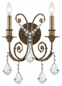 Regis Collection 2 Light Sconces with Hand Polished Crystals shown in English Bronze by Crystorama Lighting