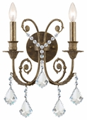 Regis Collection 2 Light Sconces with Swarovski Elements Crystals shown in English Bronze by Crystorama Lighting