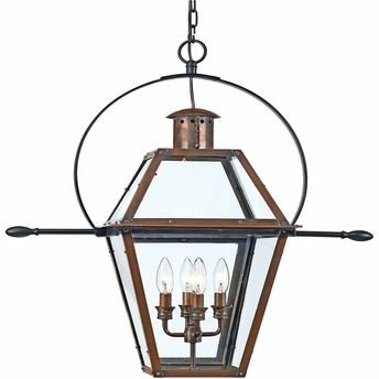 Quoizel Lighting (RO1914AC) 4 Light Rue De Royal Outdoor Hanging Fixture in Patinaed Solid Copper with Antique Highlights