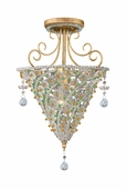 Signature Collection 1 Light Ceiling Mounts with Hand Cut Crystal Beads Crystals shown in Burnished Gold by Crystorama Lighting