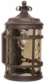 Exteriors by Craftmade (Z5004-91) Espana 1 Light Small Wall Mount in Rustic Iron & Champagne Hammered Glass