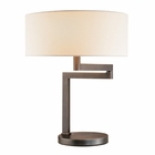 Sonneman Lighting (3625.51) Osso Table Lamp shown in Black Brass & Off-White Linen Shade