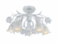 Crystorama (4810-WW) Southport 5 Light White Floral Semi-Flush