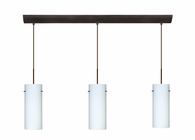 Stilo 10 Pendant 3 Light Bar Cord Fixture shown in Bronze with Opal Matte Glass Shade by Besa Lighting