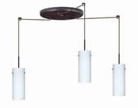 Stilo 10 Pendant 3 Light Large Round Cord Fixture shown in Bronze with Opal Matte Glass Shade by Besa Lighting