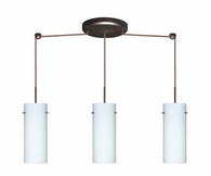 Stilo 10 Pendant 3 Light Linear Cord Fixture shown in Bronze with Opal Matte Glass Shade by Besa Lighting