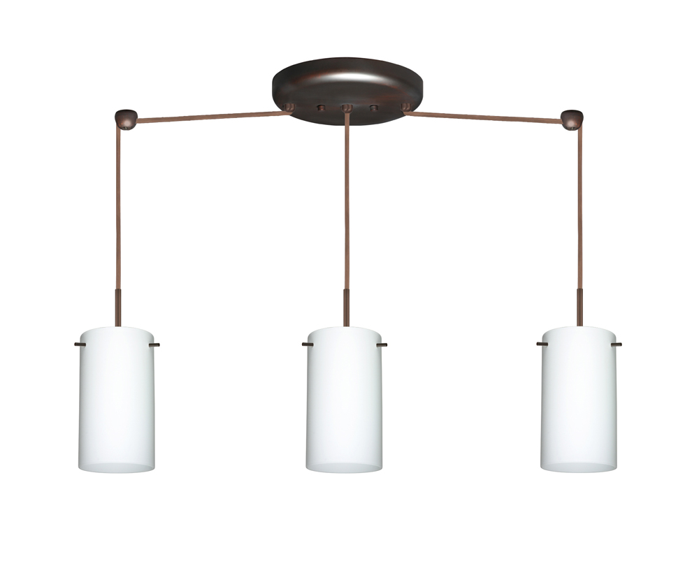 stilo 7 pendant 3 light linear cord fixture shown in bronze with opal