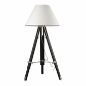 Studio Wood & Zinc Alloy & Stainless Steel Floor Lamp shown in Chrome And Black by Dimond Lighting