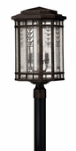 Hinkley Lighting (2241RB) Tahoe Large Outdoor Post Light in Regency Bronze with Clear Seedy Water Glass with Copper Foil Art Glass Accents