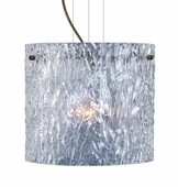 Tamburo 12 Pendant Flat Canopy Cable Fixture shown in Bronze with Clear Stone Glass Shade by Besa Lighting