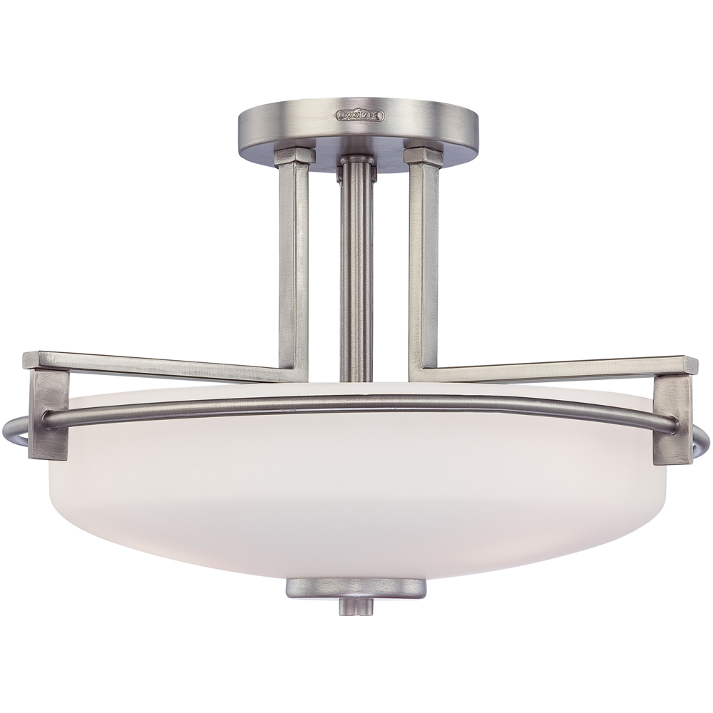 Taylor- Contemporary Style Taylor Semi-Flush Mount In Antique Nickel Finish From Quoizel Lighting- TY1716AN