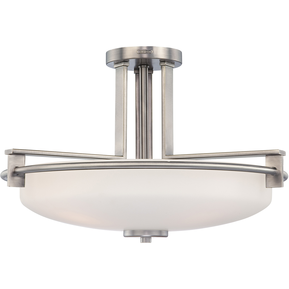 Taylor- Contemporary Style Taylor Semi-Flush Mount In Antique Nickel Finish From Quoizel Lighting- TY1721AN