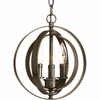 Thomasville Lighting Equinox Collection (P5142-20) Traditional/Classic 3 Light Sphere Pendant shown in Antique Bronze with Matching Candle Sleeves