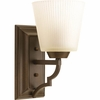Thomasville Lighting Meeting Street Collection (P2022-102) Traditional/Casual 1 Light Bath Fixture shown in Roasted Java with Etched Ivory Pleated Glass