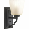 Thomasville Lighting Meeting Street Collection (P2022-80) Traditional/Casual 1 Light Bath Fixture shown in Forged Black with Etched Ivory Pleated Glass