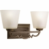 Thomasville Lighting Meeting Street Collection (P2023-102) Traditional/Casual 2 Light Bath Fixture shown in Roasted Java with Etched Ivory Pleated Glass
